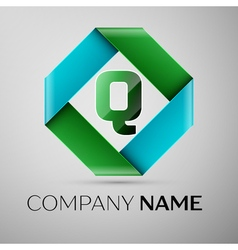 Letter Q logo symbol in the colorful rhombus vector image