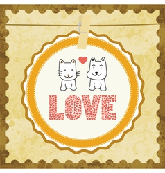 Love cat and dog card2 vector