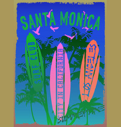 On the theme of surf and surf club santa monica vector
