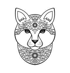 Ornamental white cat vector