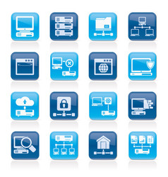 server and network icons vector image