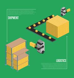 Shipment logistics isometric banner vector