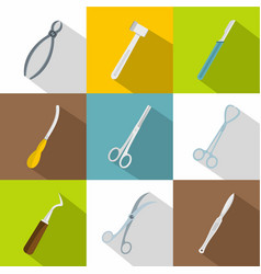 surgical tools icons set flat style vector image vector image