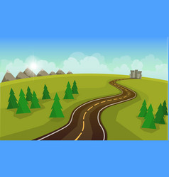 the landscape of forests mountains and roads vector image