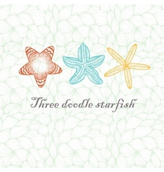 Three doodle textured starfish vector