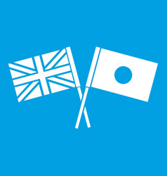 Uk and japan flags crossed icon white vector