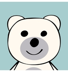 White bear funny cartoon animal toy vector