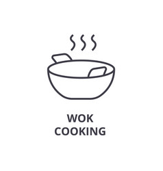 Wok cooking line icon outline sign linear symbol vector