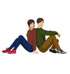 young guy and girl vector image