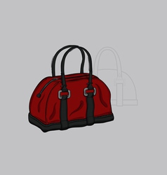 Handbag burgundy with gray inserts vector