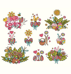 easter hand drawn symbols and objects vector image