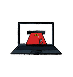 Laptop computer with credit card isolated icon vector