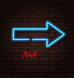 Arrow neon sign and a bar on the brick background vector