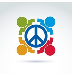 Round antiwar icon no war symbol people of all vector