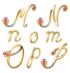 Bronze alphabet with colored gems letters MNOP vector image
