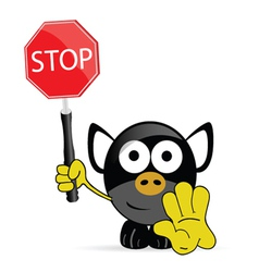 sweet and cute pig with sign stop vector image