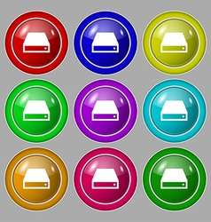Cd-rom icon sign symbol on nine round colourful vector