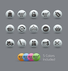 Shopping icons pearly series vector