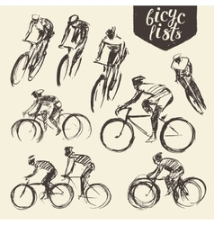 Hand draw set mountain bicyclist bike cycle sketch vector