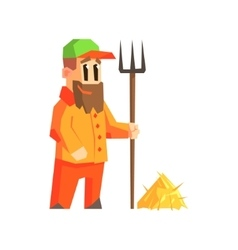 Man with fork and hay vector