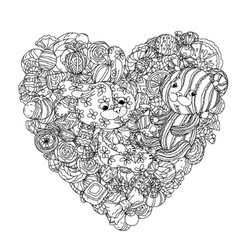 Teddy bears and leverets for coloring book vector