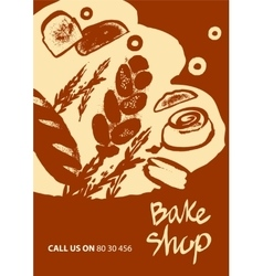 Set of of bread for menu bake shop vector
