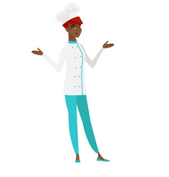 african confused chef cook with spread arms vector image