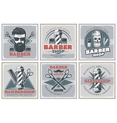 Barbershop Hipster Posters Set vector image vector image