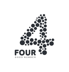 Black and white number four logo template made of vector image