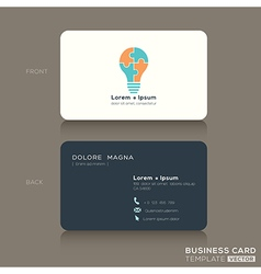 Business card with jigsaw puzzle light bulb symbol vector image vector image