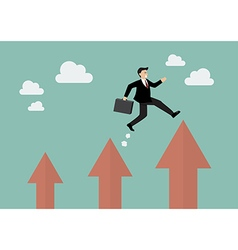 Businessman jumping up to a higher arrow vector