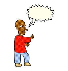 Cartoon mean looking man with speech bubble vector