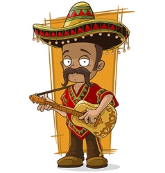 Cartoon mexican in sombrero with vector image vector image