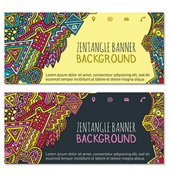 colored hand drawn zentangle banner social icons vector image