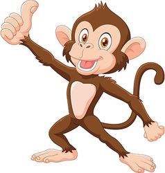 Cute monkey giving thumb up isolated vector