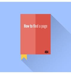 Flat book icon 404 error faq vector image