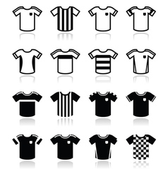 Football or soccer jerseys icons set vector