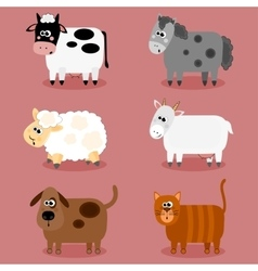 Funny farm animals and pets collection vector