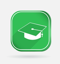 Graduate hat color square icon vector