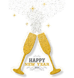 Happy new year 2018 party toast gold glitter card vector