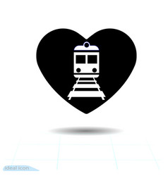 Heart black icon love symbol train icon in vector