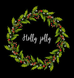 holly and mistletoe wreath christmas and new year vector image