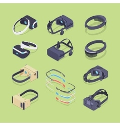 Isometric virtual and augmented reality headsets vector