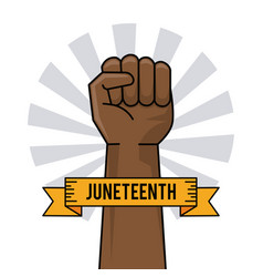 Juneteenth day hand fist raise ribbon image vector