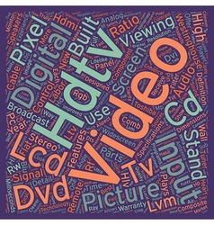 Lcd hdtv text background wordcloud concept vector