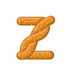 letter z pretzel snack font symbol food alphabet vector image