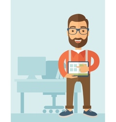 Man holding a screen tablet vector