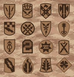 Military camouflage emblem patch set in tan vector