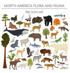 North america flora and fauna flat elements vector