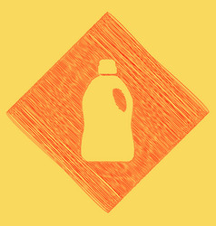 Plastic bottle for cleaning red scribble vector